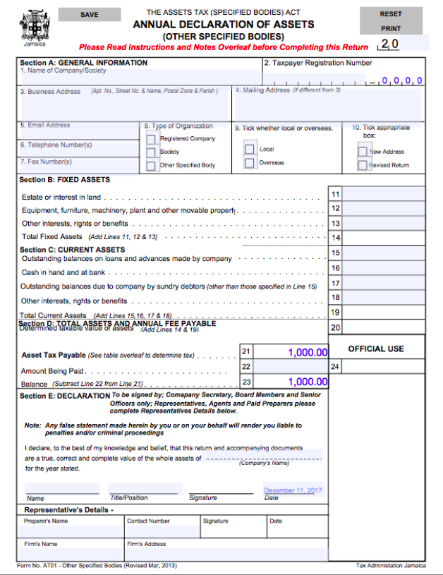Download Form AT01 - Jamaica Tax Returns